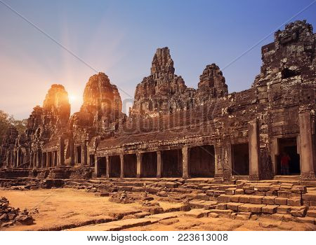 Cambodia. Siem Reap. Carved stone patterns on temple walls