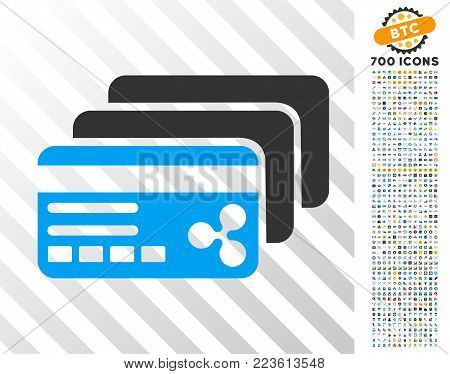 Ripple Banking Cards pictograph with 7 hundred bonus bitcoin mining and blockchain icons. Vector illustration style is flat iconic symbols designed for blockchain apps.