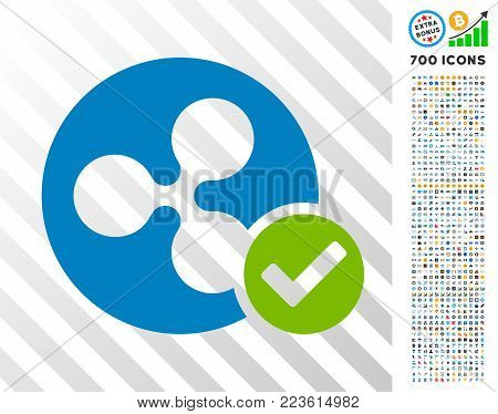 Ripple Coin Valid icon with 7 hundred bonus bitcoin mining and blockchain pictograms. Vector illustration style is flat iconic symbols designed for crypto-currency websites.