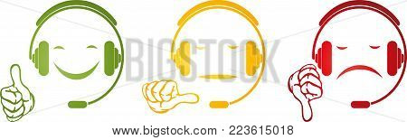 Male with headsets and hands, rating and support logo