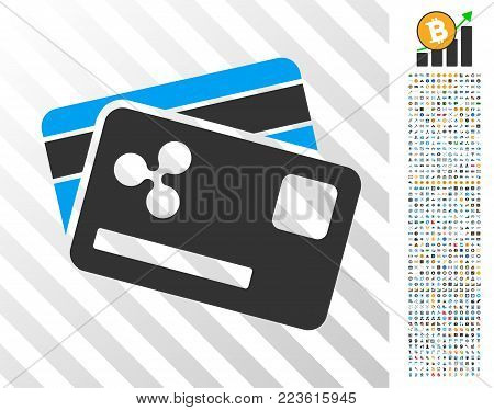 Ripple Credit Cards icon with 700 bonus bitcoin mining and blockchain pictures. Vector illustration style is flat iconic symbols designed for cryptocurrency software.