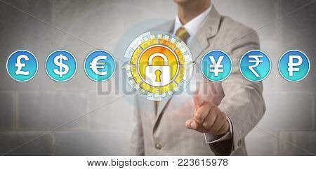 Unrecognizable trader activating secure transaction. Concept for foreign exchange market, secure online banking, international finance, interbank market, cyber security, and regulatory compliance.