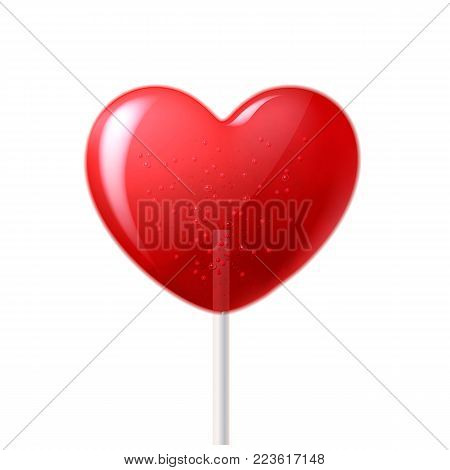 Vector heart lollipop candy 3d closeup, happy valentine day invitation, greeting card, banner poster template. Isolated illustration sweet dessert stick. Romantic love sugar caramel celebration symbol