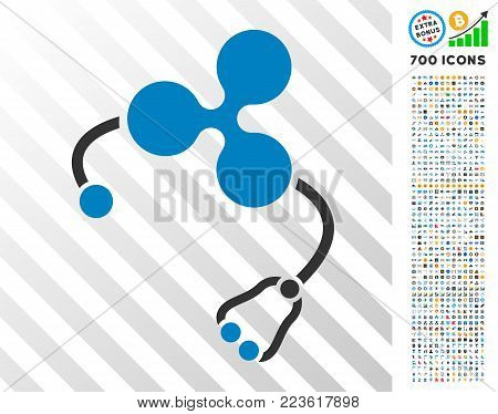 Ripple Health icon with 700 bonus bitcoin mining and blockchain graphic icons. Vector illustration style is flat iconic symbols designed for blockchain software.