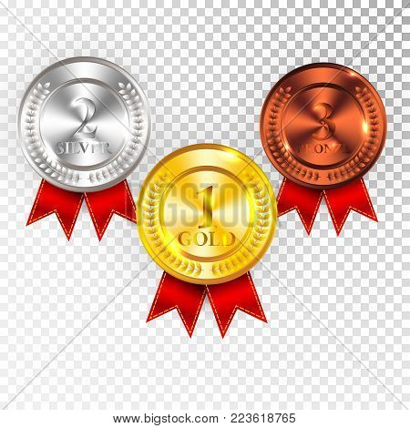 Champion Gold, Silver and Bronze Medal with Red Ribbon Icon Sign First, Second and Third Place Collection Set Isolated on Transparent Background. Vector Illustration.