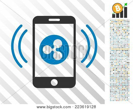 Ripple Mobile Control pictograph with 700 bonus bitcoin mining and blockchain symbols. Vector illustration style is flat iconic symbols designed for bitcoin software.