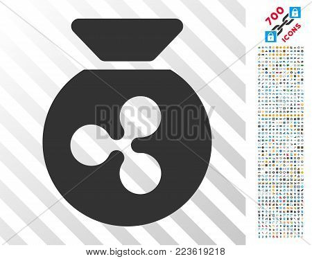 Ripple Money Bag icon with 700 bonus bitcoin mining and blockchain pictures. Vector illustration style is flat iconic symbols designed for blockchain software.
