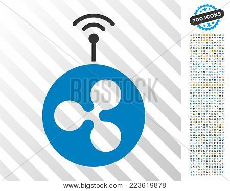 Ripple Radio Transmitter pictograph with 700 bonus bitcoin mining and blockchain pictographs. Vector illustration style is flat iconic symbols designed for crypto-currency software.