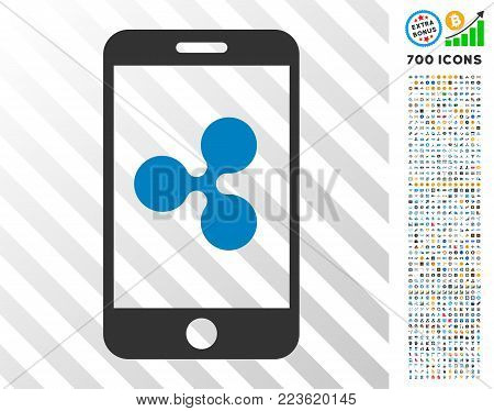 Ripple Smartphone pictograph with 700 bonus bitcoin mining and blockchain pictures. Vector illustration style is flat iconic symbols designed for crypto currency websites.