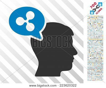 Ripple Thinking Balloon icon with 700 bonus bitcoin mining and blockchain graphic icons. Vector illustration style is flat iconic symbols designed for cryptocurrency websites.