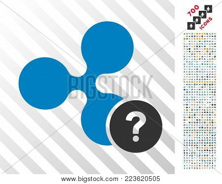 Ripple Unknown Status icon with 700 bonus bitcoin mining and blockchain pictures. Vector illustration style is flat iconic symbols designed for crypto currency software.