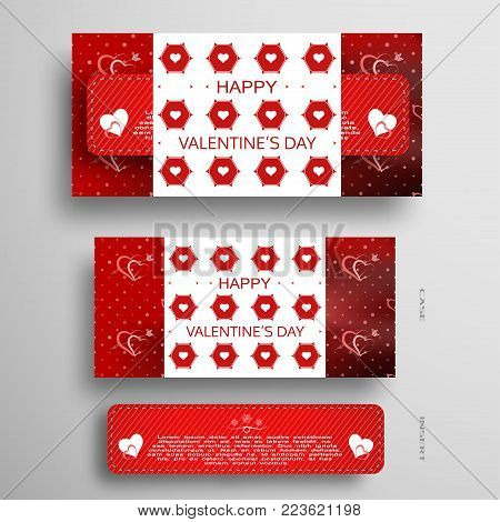 Vector set of greeting card for Valentine's Day with red insert in case with pattern of hexagons and hearts on the gradient gray background with shadow.