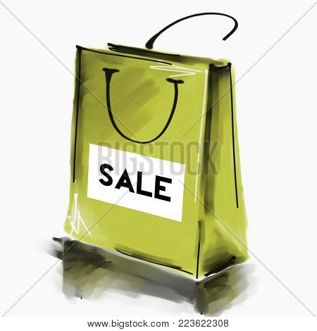 art digital acrylic and watercolor painted one monochrome gold green shopping bag isolated on white background label Sale; colorful 3d graphic