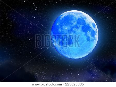 Eclipse of blue moon on night starry sky. Astronomical natural phenomenon in space universe. Illuminated by moonlight of Earth by natural companion. An important event in astrology.