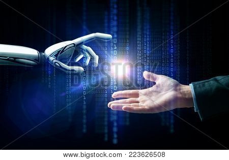 artificial intelligence, future technology and business concept - robot and human hand with flash light and binary code over black background
