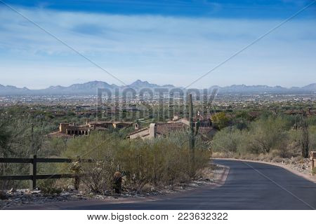 View of Scottsdale and Phoenix in Arizona,USA from upscale community located in The McDowell Mountain Range