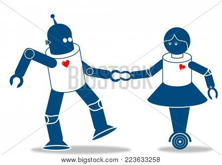 Robot couple in love