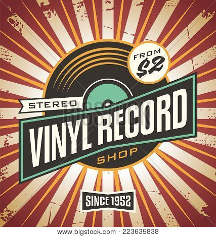 Vinyl record shop retro sign design. Promotional poster idea for music record store. Vintage music vector ad template.