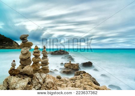 Stones balance and wellness retro spa concept inspiration zen-like