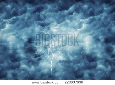 lightning in dark cloudy stormy sky