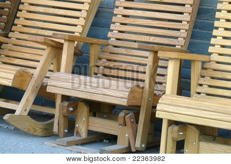 close-up outdoor wood chairs