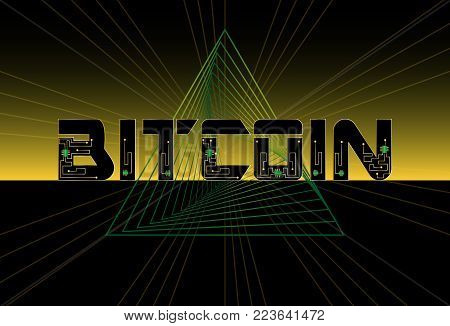 Bitcoin abstract background design with triangle geometric futuristic lines and chip. Banner template. Vector.