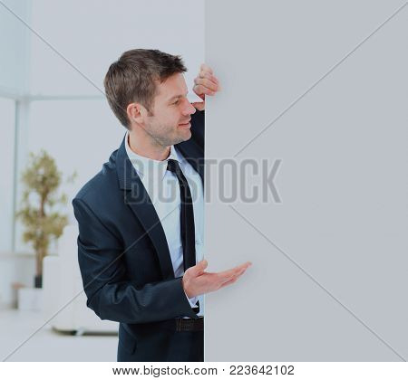 Businessman demonstrates the project to the potential customer.