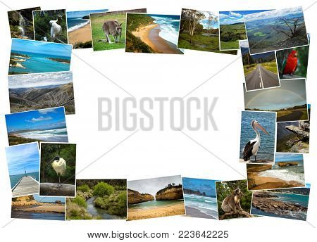 Collage from fabulous location of Australia on white background with copy space on white background