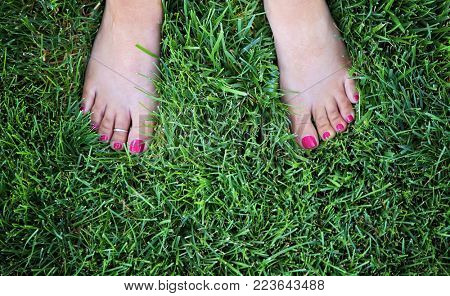 pretty bare feet of a woman standing in lush green grass with painted nails and a toe ring on