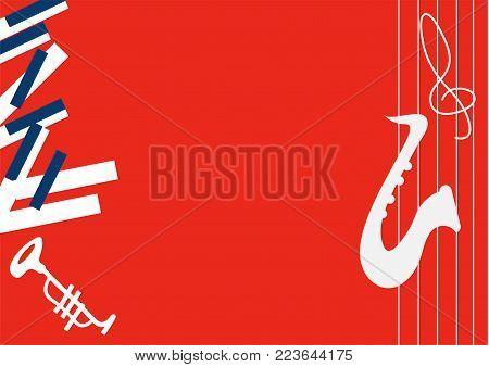 Vector minimalistic illustration for music concert, jazz festival or theater live performance. Great as concert ticket or festival poster template, jazz fest pass or music background with copyspace.