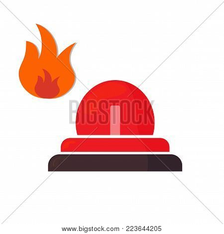 Vector illustration: Emergency icon, Ambulance Siren light, Alert logo. Firefighters sign.