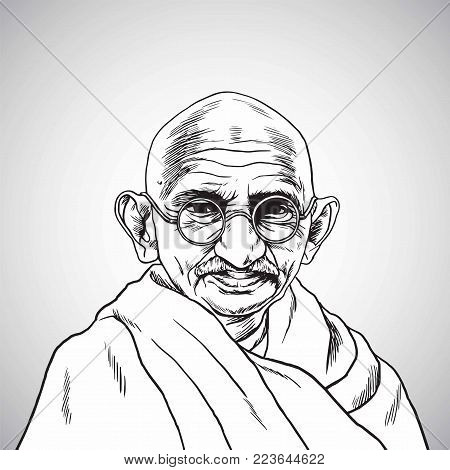 Mahatma Gandhi. Vector Portrait Drawing. Hand Drawn Illustration. January 26, 2018