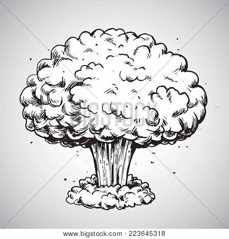 Nuclear Explosion Mushroom Cloud Drawing Illustration Vector
