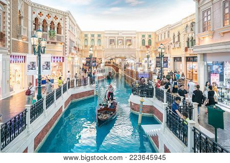 Macau (Macao), China - October 15, 2017 : The Venetian Macau interior view. Macau is the gambling capital of Asia.