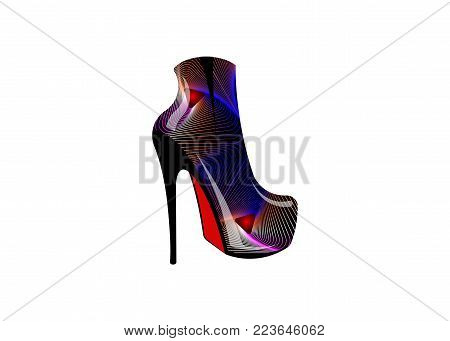 3D psychedelic woman boots on high heels, side view, Logo shoe store, shop, fashion collection boutique label. Company logo design. Leather Shoe with geometric texture print, vector isolated
