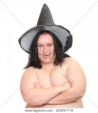 Ugly obese witch with missing teeth. Portrait on white background.