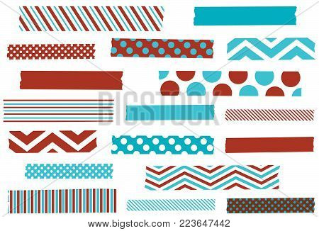 Set of aqua and red washi tape strips. Adhesive tape or stickers. Vector illustration.