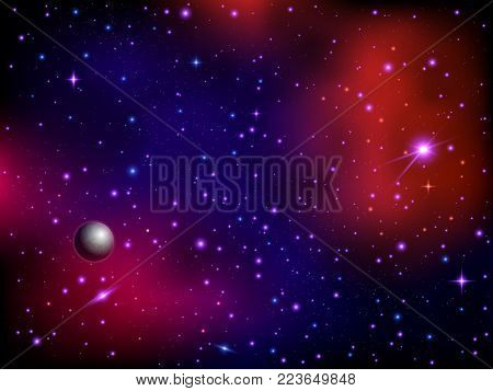 Colorful space galaxy background with planet and stars. Milky way and stardust. Artwork background. Color nebula. Realistic vector illustration.