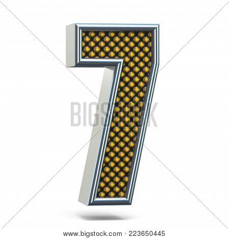 Chrome Metal Orange Dotted Font Number One 1 3D
