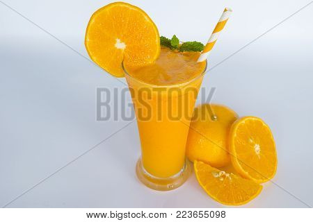 Orange smoothies juices,beverage healthy the  yummy In glass,drink for breakfast in the morning on white. poster
