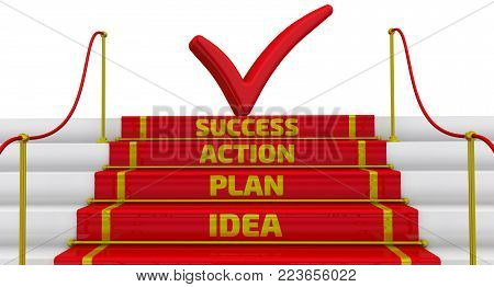 Idea, plan, action, success. The inscription on the steps. Business strategy: idea, plan, action, success. Stairs with a red carpet and fencing posts. 3D Illustration