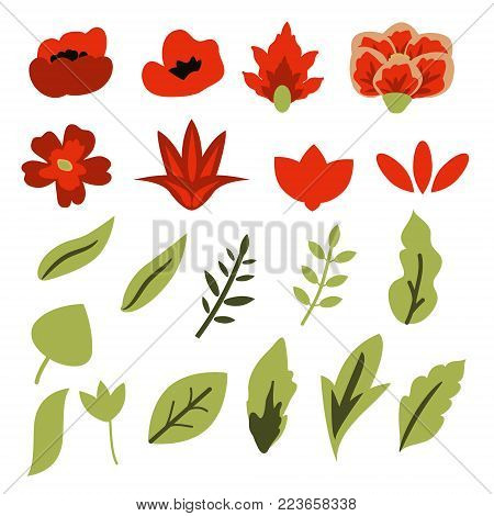 Red flowers and green leaves vector set