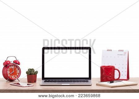 Modern Desktop Computer On Wooden Table. Studio Shot Isolated On White. Blank Screen For Graphics Di