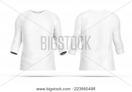 Three Quarter Sleeves Set, Blank White Cloth Template With Invisible Model Isolated On White Backgro