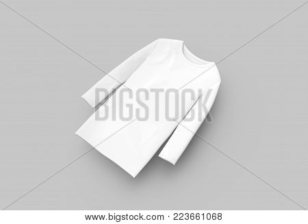 Three Quarter Sleeves Shirt, Blank White Unisex Cloth Isolated On Light Gray Background, 3d Render E