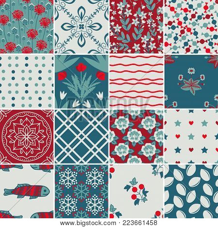 Various vector patterns, floral, geometric and symbols collection