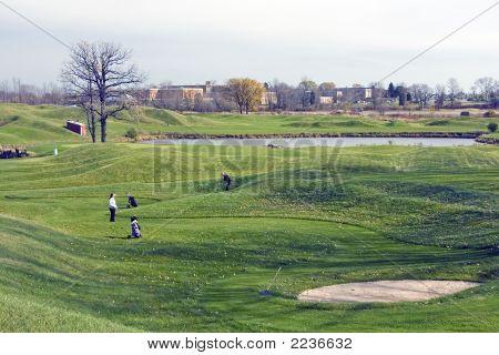 Women On An Urban Golf Course