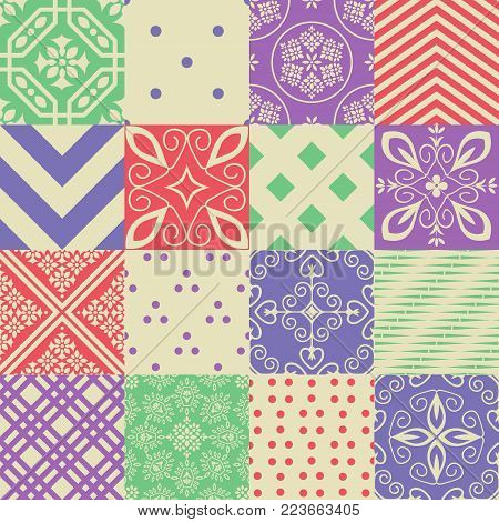 Seamless abstract vector patterns decorative patchwork collection