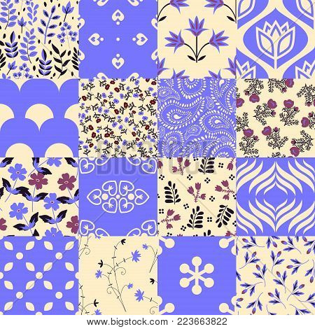 Seamless patchwork floral and abstract patterns set
