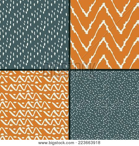 Seamless patterns with blue and orange abstract decorative ornament